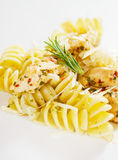 serowego kurczaka kraciasty włoski mięsny makaron Obraz Royalty Free