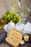 serowego składu biały wino Fotografia Royalty Free