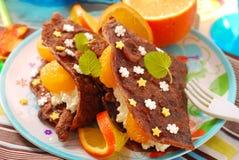 serowi chałupy blinów tangerines fotografia stock