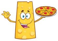 Serowy kreskówki maskotki charakter Przedstawia Perfect pizzę Obrazy Royalty Free