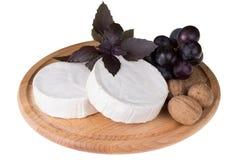 Serowy półmisek z dokrętkami i winogronami Fotografia Stock