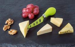 Serowy półmisek z winogronami i orzechem włoskim fotografia royalty free