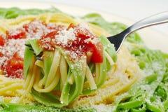 serowy parmesan makaronu tomatosauce Zdjęcie Stock