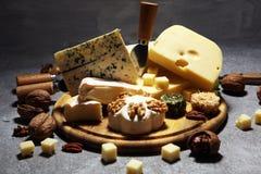 Serowy talerz słuzyć z figami, różnorodny ser na półmisku na drewnie fotografia stock