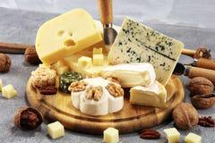 Serowy talerz słuzyć z figami, różnorodny ser na półmisku na drewnie obraz stock