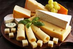 Serowy talerz słuzyć z winogronami, różnorodny ser na półmisku obraz stock