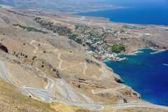 Serpantine road to Aradena near Sfakia on Crete island Royalty Free Stock Photo
