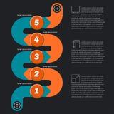 Serpeggi il infographics di forma, fondo scuro con le icone illustrazione di stock