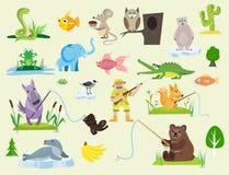 Serpeggi l'illustrazione animale predatore di vettore del pitone della rana del gufo del topo della vipera della natura della fau Fotografie Stock Libere da Diritti