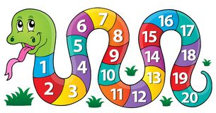 Serpent avec l'image 1 de thème de nombres Images stock