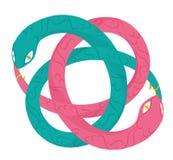 Serpent d'Uroboro : yang de yin et concept d'infini Images stock