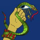 Serpent dans sa main et ankh Image stock