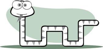 Serpent de dessin animé en noir et blanc Images libres de droits