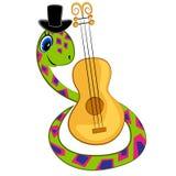 Serpent de dessin animé jouant la guitare Photographie stock