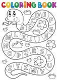 Serpent de livre de coloriage avec le thème d'alphabet Images libres de droits