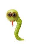 Serpent drôle fait en pomme verte Images libres de droits