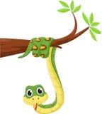Serpent drôle sur une branche d'arbre illustration de vecteur
