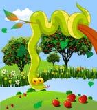 The serpent in the garden of God. Garden of Eden, vector art illustration snake and an apple orchard Stock Image
