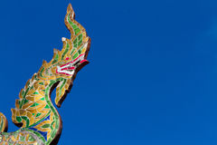 Serpent the great Naga top of temple Royalty Free Stock Image
