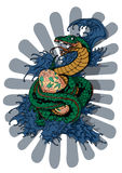 Serpent that guards its egg. A color image of a snake made in the Japanese style Stock Image