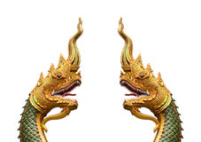 Serpent king or king of naga statue in thai temple isolated on w Royalty Free Stock Photos