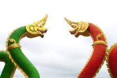 Serpent king or king of naga statue on white background, Wat Sam Royalty Free Stock Photos
