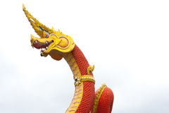 Serpent king or king of naga statue on white background, Wat Sam Royalty Free Stock Photography