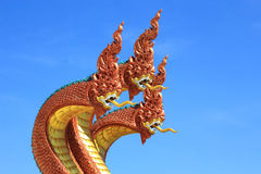 Serpent king on the stairs  in buddhist temple Stock Photo
