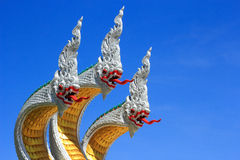 Serpent king on the stairs  in buddhist temple Royalty Free Stock Images