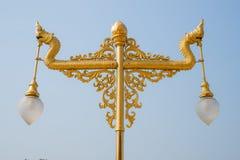 Serpent Lantern. Double golden dragon lantern in Thailand Royalty Free Stock Photos