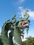 Serpent, Nagas Green. At Wat Tham Suea in Krabi souht of Thailand Royalty Free Stock Photos