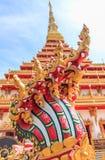 Serpent in Phra Mahathat Kaen Nakhon. Phra Mahathat Kaen Nakhon,Wat nong wang,The most beautiful temple in Thailand - Khon Kaen Stock Photo