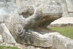 Serpent sculpture, the details of El Castillo in Chichen Itza in Mexico Stock Photography