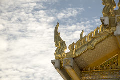 Serpent sculpture of temple roof in Thailand. Stock Image