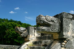 Serpent Statue in Chichen Itza. Chichen Itza - Mayan Pyramid in Mexico Royalty Free Stock Photography