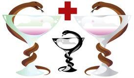 Serpent sur un verre à vin illustration stock