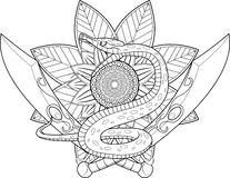 Serpent and Sword Line Drawing For Coloring Therapy Stock Photo