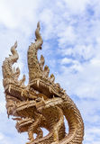 Serpent. Three head serpent in temple of Thailand Royalty Free Stock Photo