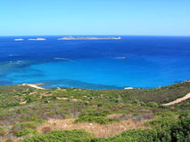 Serpentara. View of Serpentara Island from the road between Villasimius and Cala Pira Stock Photo