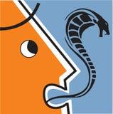 Serpente che esce dalla bocca dell'uomo Immagini Stock
