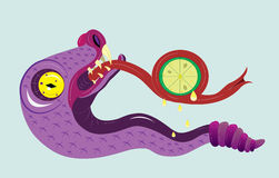 A serpente come um limão. ilustração stock