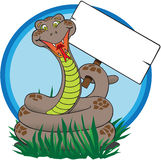 Serpente con il segno Immagine Stock