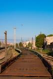 Serpente dei vagoni della ferrovia Fotografia Stock Libera da Diritti