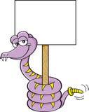 Serpente del fumetto che tiene un segno Fotografia Stock
