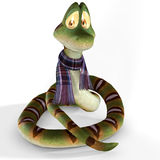 Serpente del fumetto con la sciarpa Fotografia Stock
