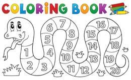 Serpente del libro da colorare con il tema di numeri illustrazione di stock