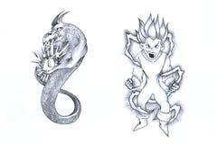 Serpente ed il pixie Immagini Stock