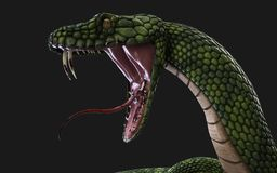 Serpente gigante verde da fantasia ilustração royalty free
