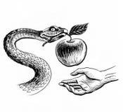 Serpente, mela e mano royalty illustrazione gratis