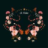 Serpente na moda com vetor do projeto gráfico das flores em exprimir o ` de Je t ilustração do vetor